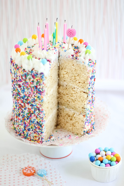 Rice Krispy Sprinkle Cake Sprinkle Bakes 5