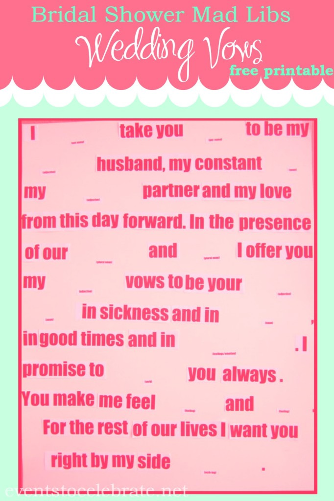 Mad Libs Wedding Vows - eventstocelebrate.net