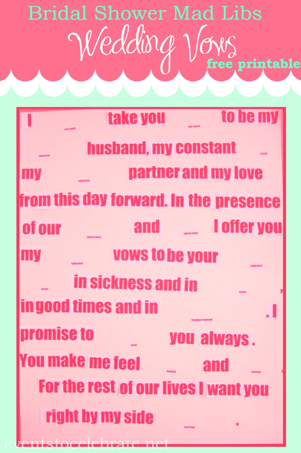 Mad Libs Wedding Vows - events to CELEBRATE!