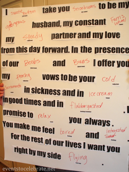 Mad Libs Wedding Vows