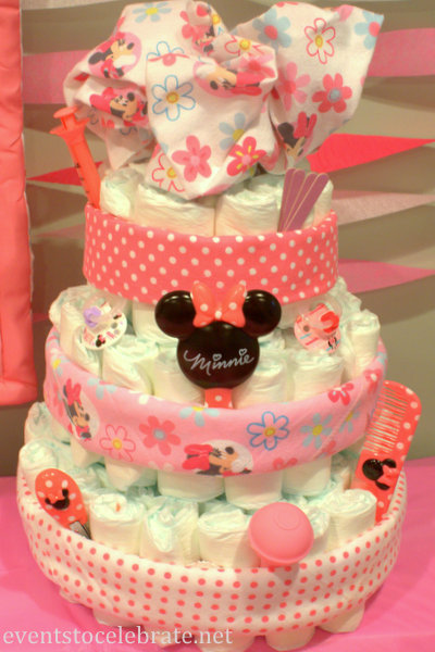Minnie Mouse Diaper Cake - Events To Celebrate