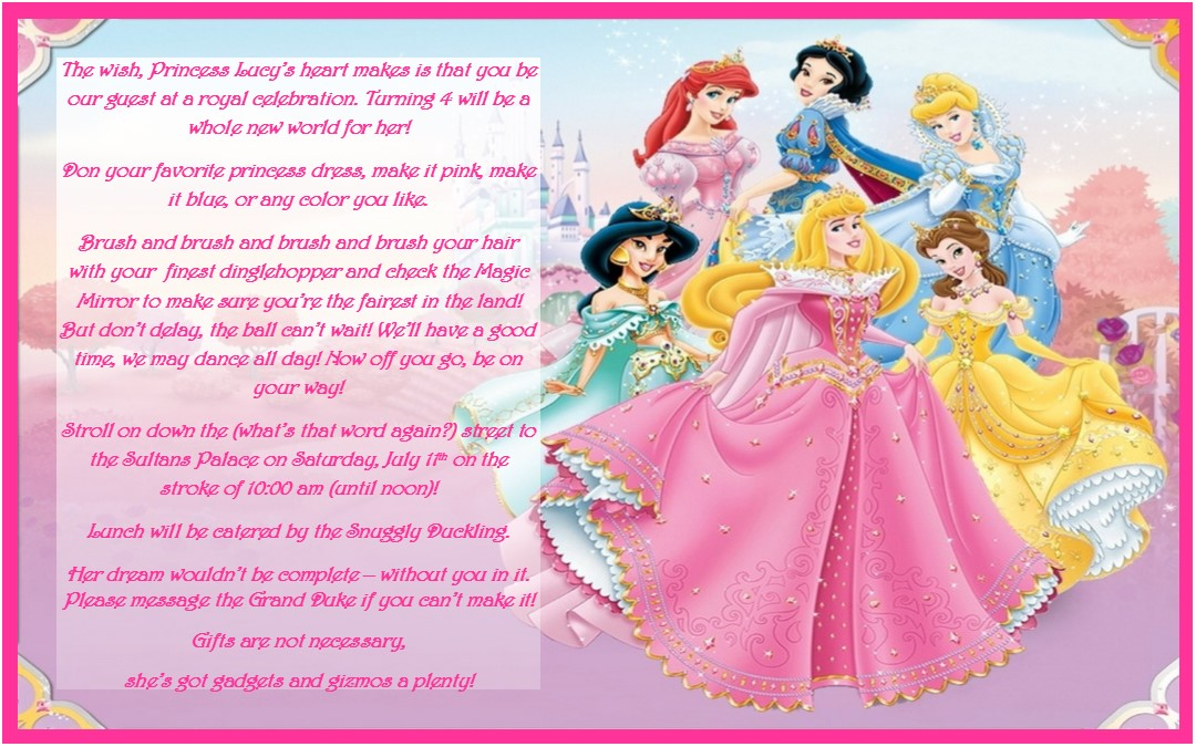 Disney Princess Birthday Party Ideas Invtations Favors events – Invite a Princess to Your Party