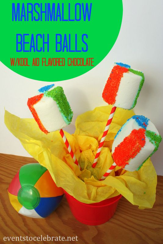Marshmallow Beach Balls for Pool Party Treats - eventstocelebrate.net