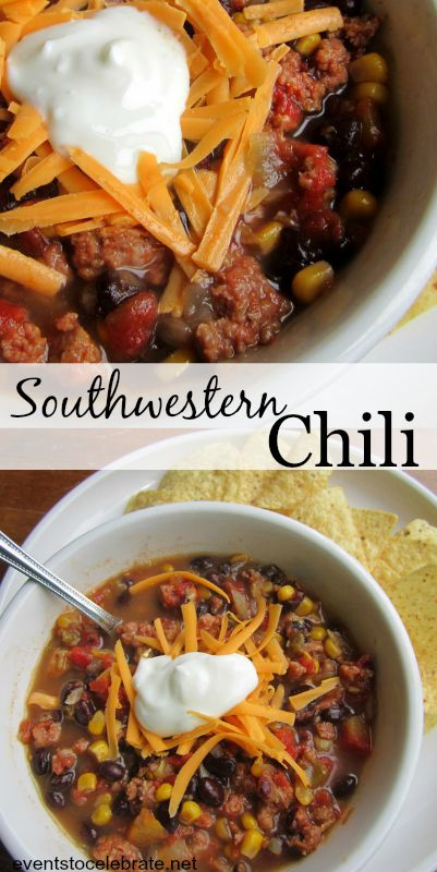 Southwestern Chili Recipe - Corn, Black Beans and Green Chilies give this hearty soup a taste of New Mexico.