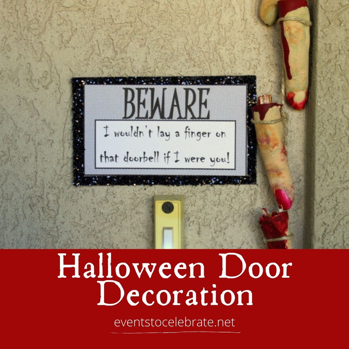 Severed finger halloween door decor