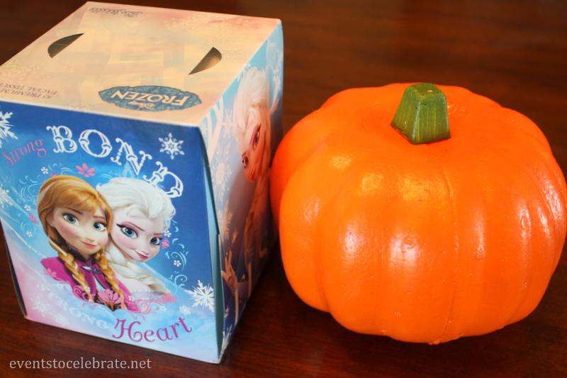 Dollar Store Craft Tutorial- Foam Pumpkin Tissue Holder