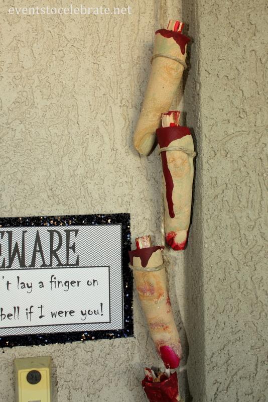 Halloween Door Decoration - Plaster Fingers with Free Printable Sign