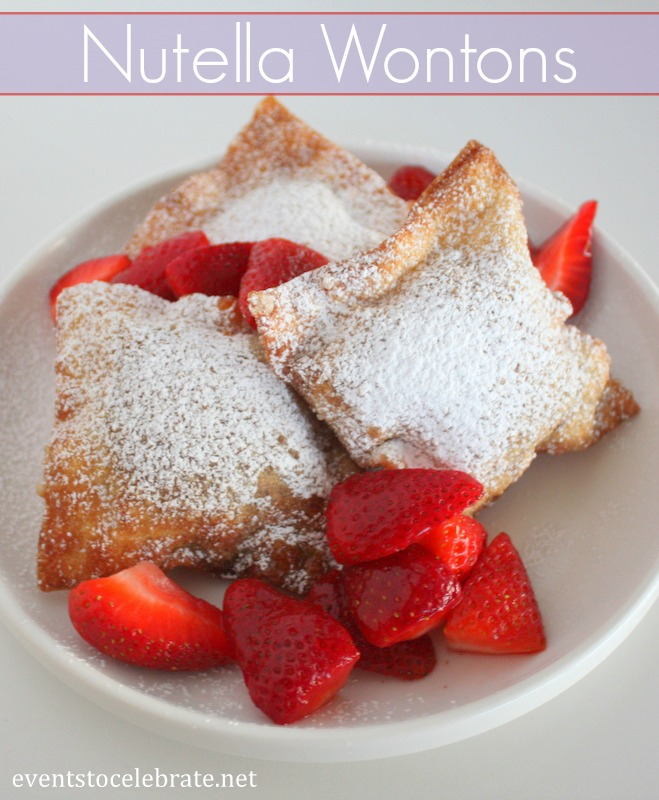 Nutella Wontons with Macerated Strawberries - a perfect dessert you can prep ahead - Events To Celebrate