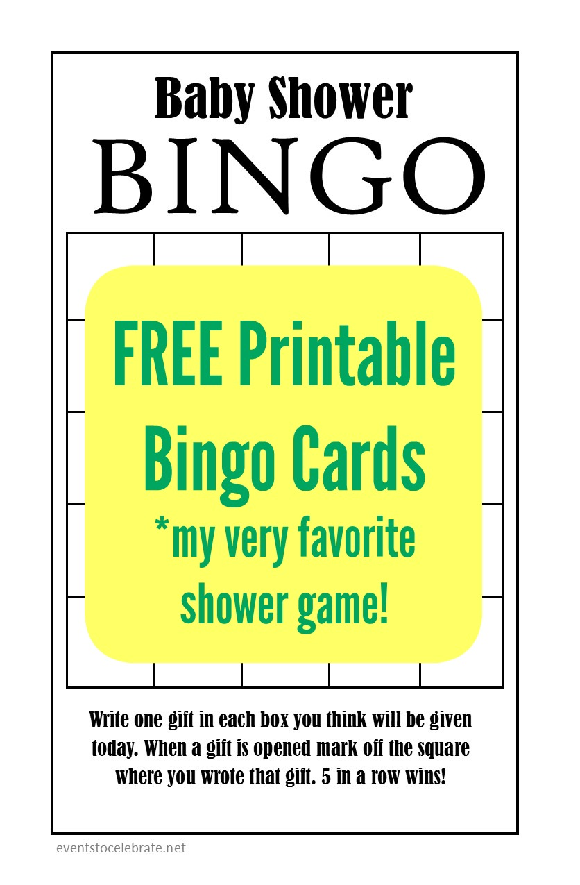 Baby Shower Bingo - Free Printable Cards in Black and White so you can print them on any color paper to fit your theme!