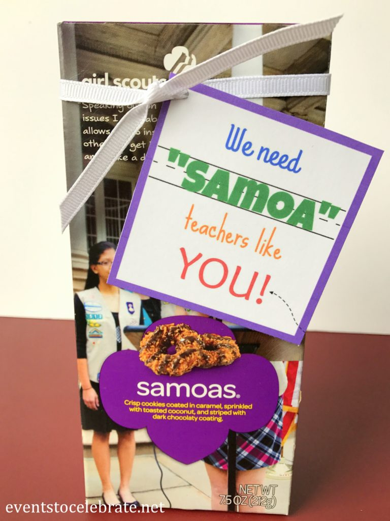 Teacher Appreciation Gift - Samoas - eventstocelebrate.net