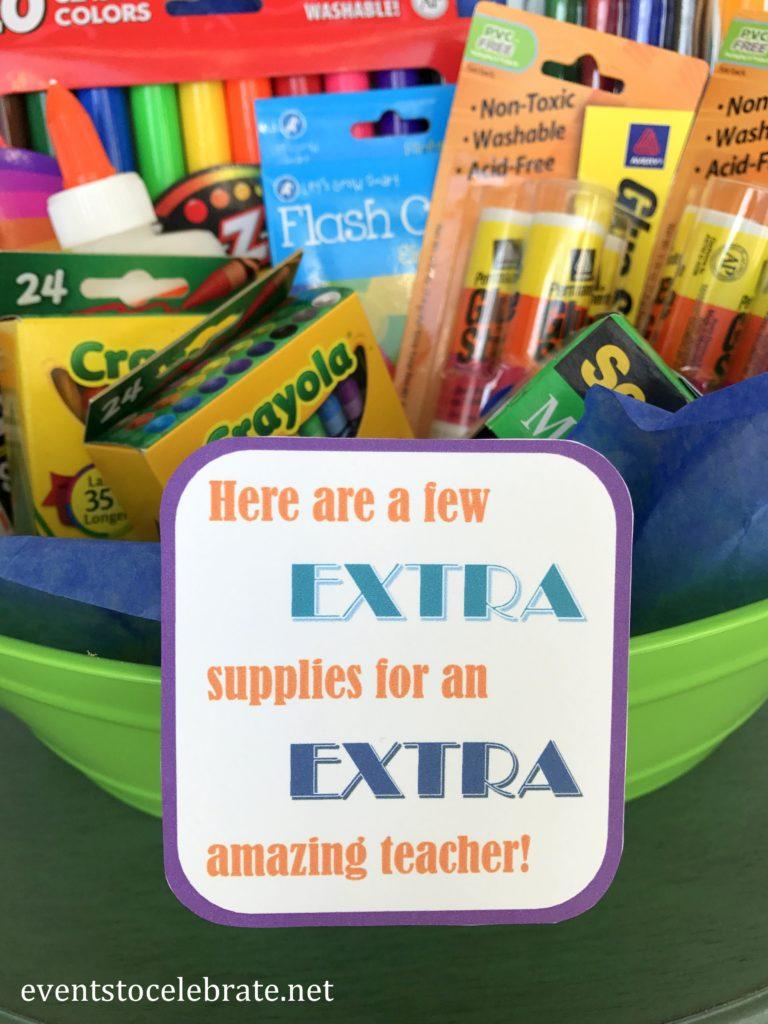 Teacher Appreciation School Supplies Gift Tag