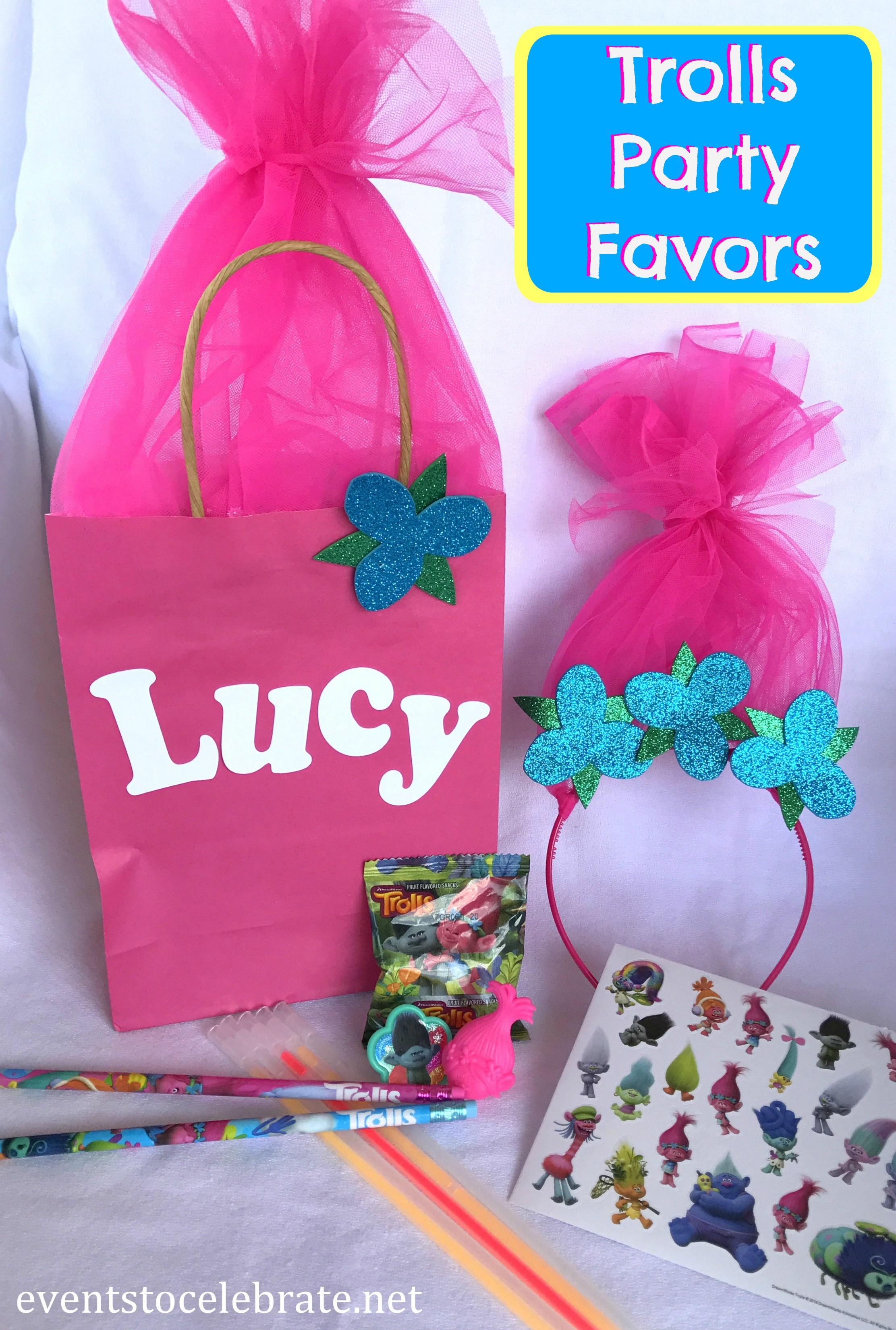 Ways to decorate gift bags - The Contents Of The Favor Bags Are Pink Medium Gift Bags Oriental Trading Pink Tulle Hair On Bags And Headbands Oriental Trading
