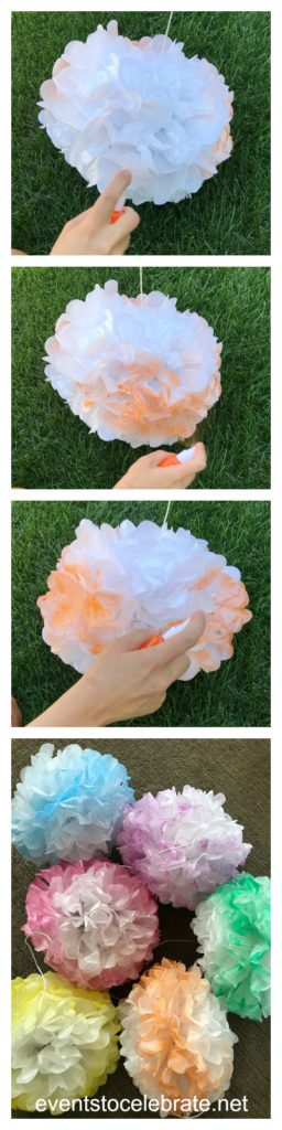 Unicorn Party Decorations - Rainbow Tissue Pom Poms