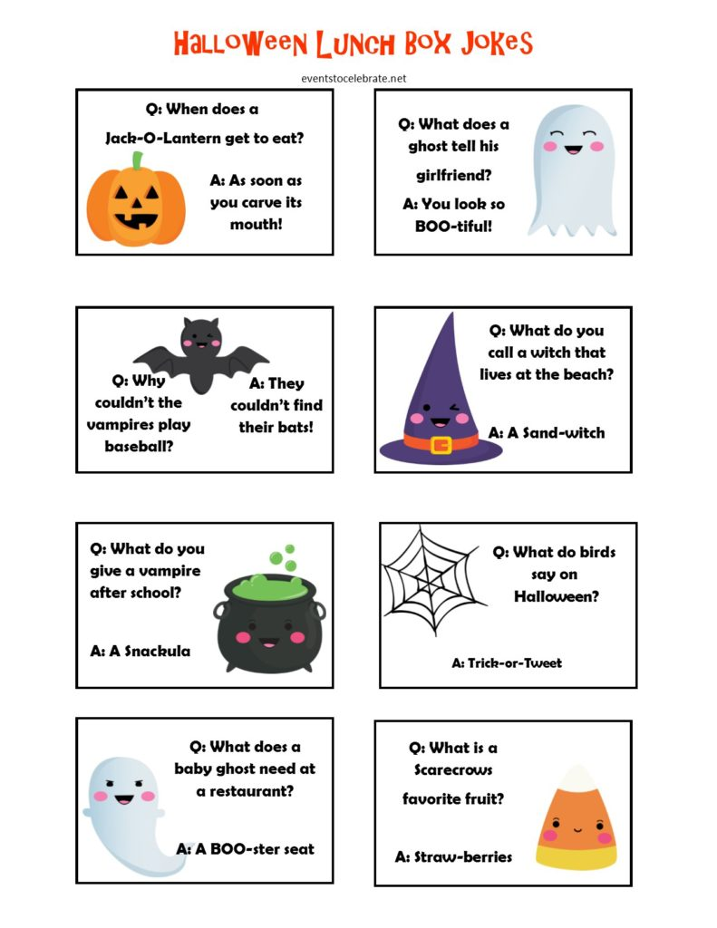 Halloween Lunch Box Jokes - free printable
