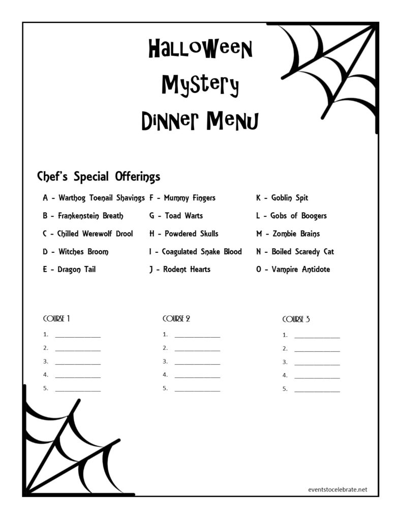 Halloween Dinner Ideas: Halloween Mystery Dinner Menu Printable