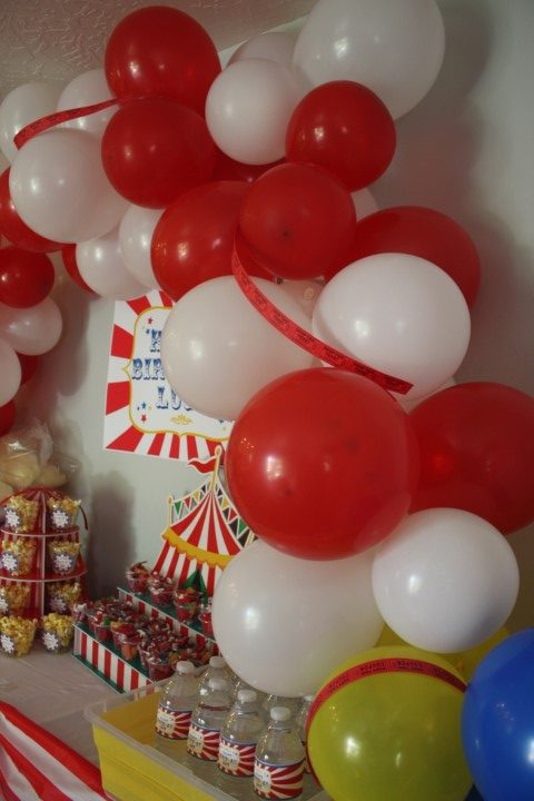 Homemade balloon arch for a carnival themed birthday