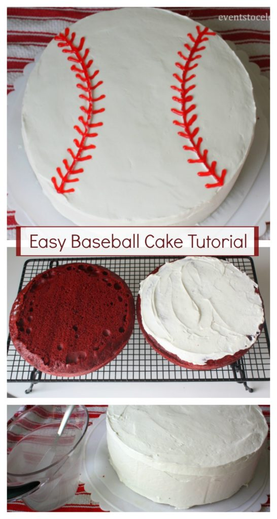 easy baseball cake tutorial for a baseball themed birthday party or team party