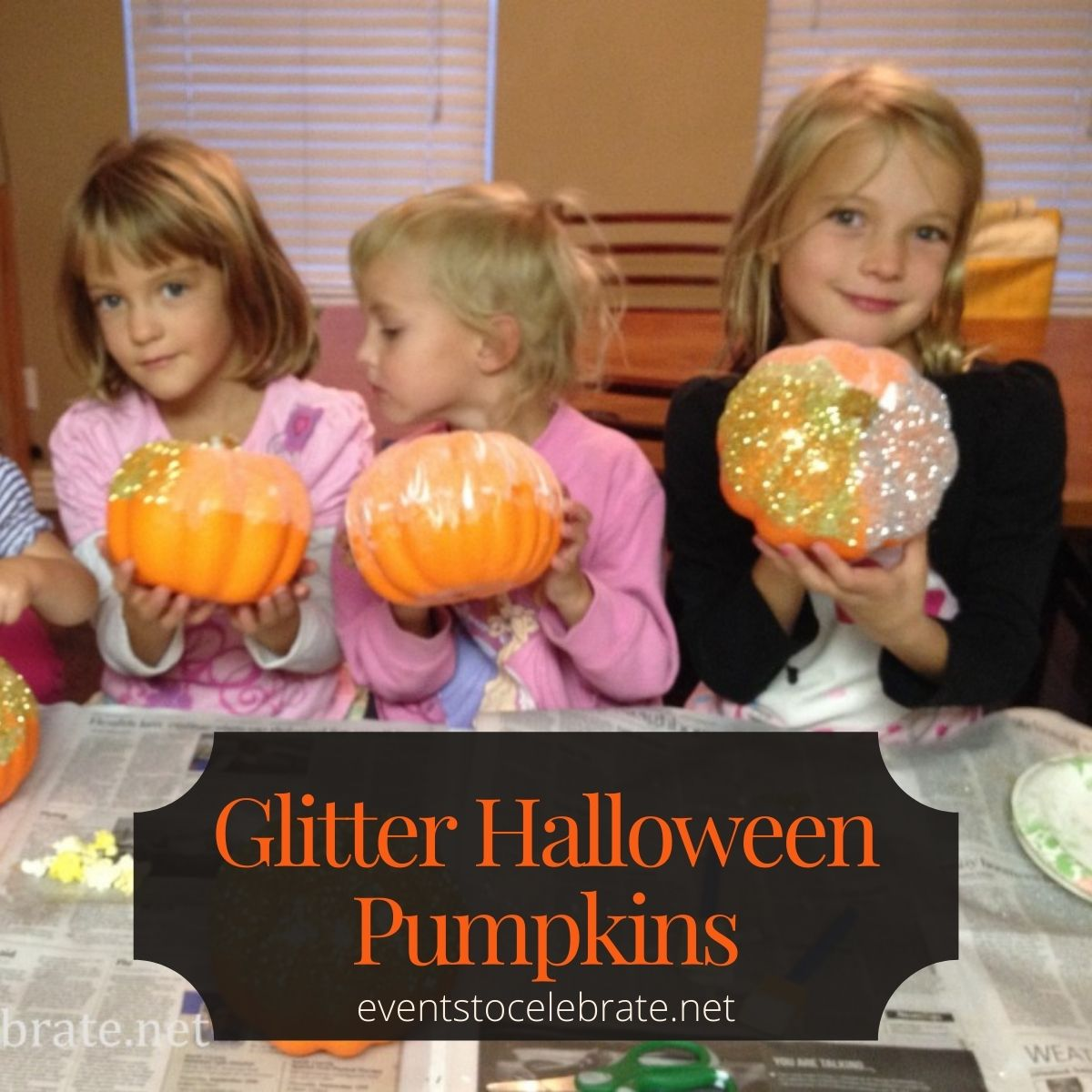 Cheap and easy glitter pumpkins