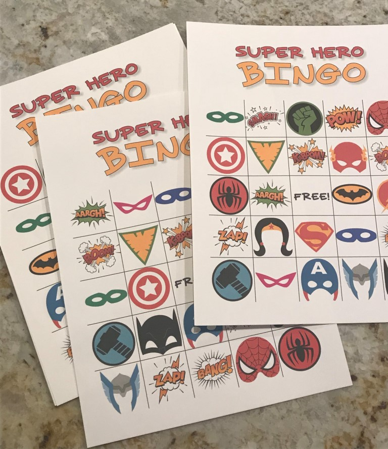 superhero bingo party game