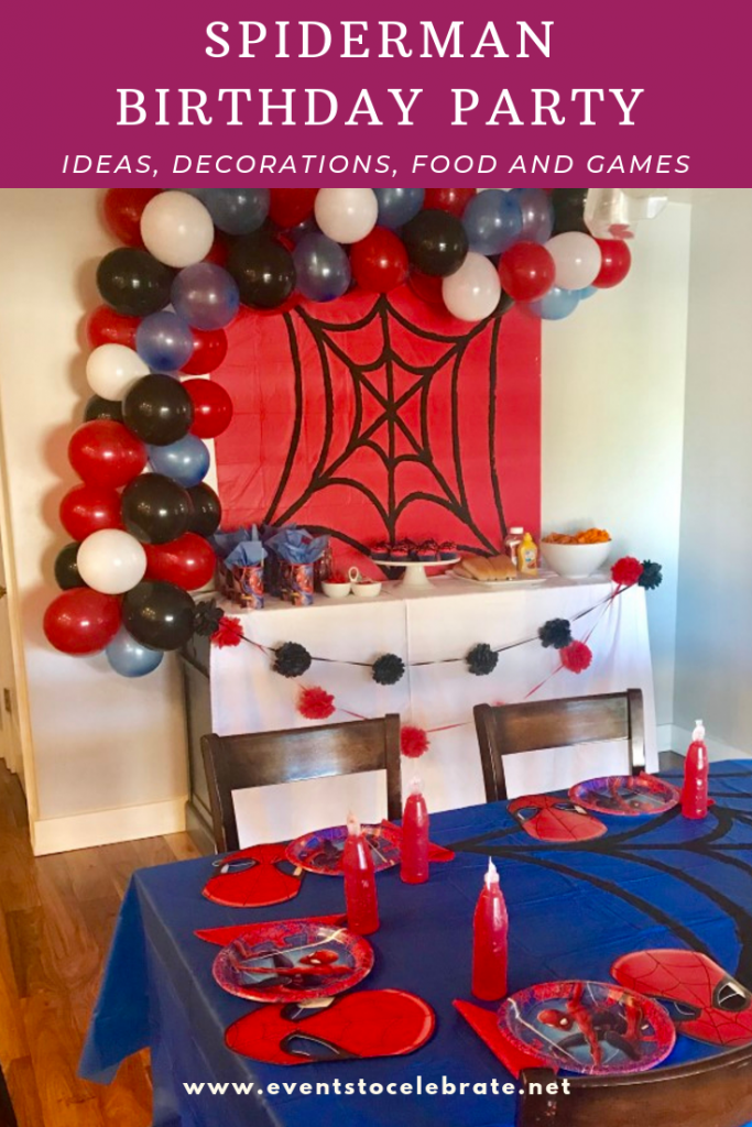 Spiderman birthday party ideas decorations, food, and games