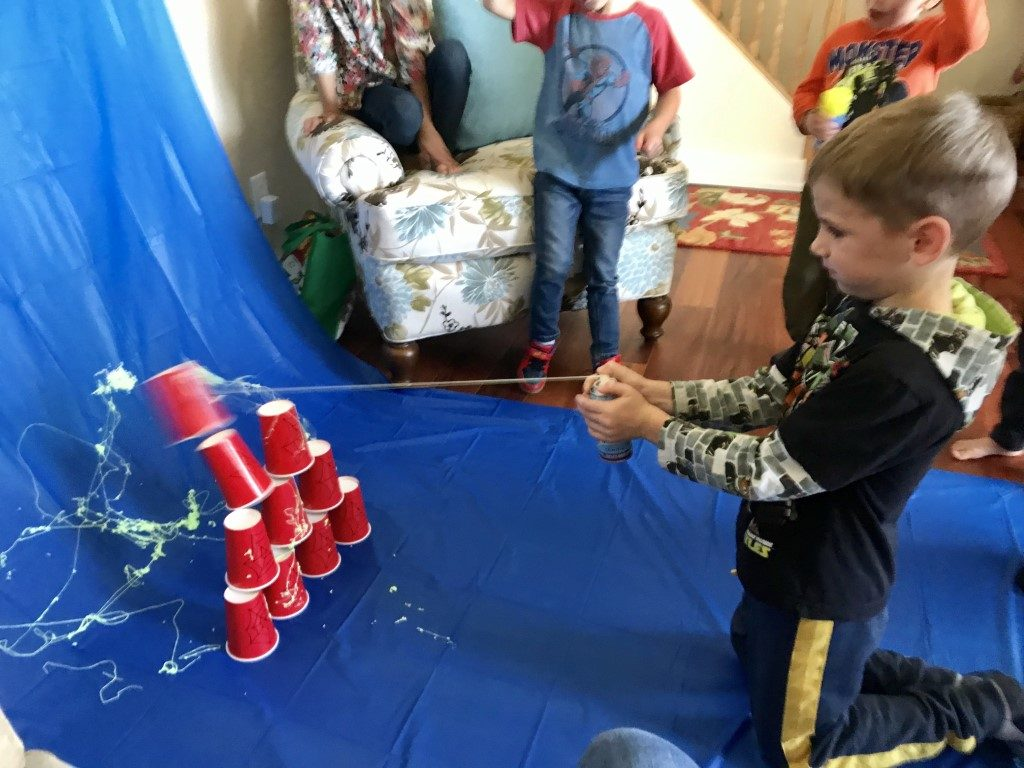 silly string spiderman party game
