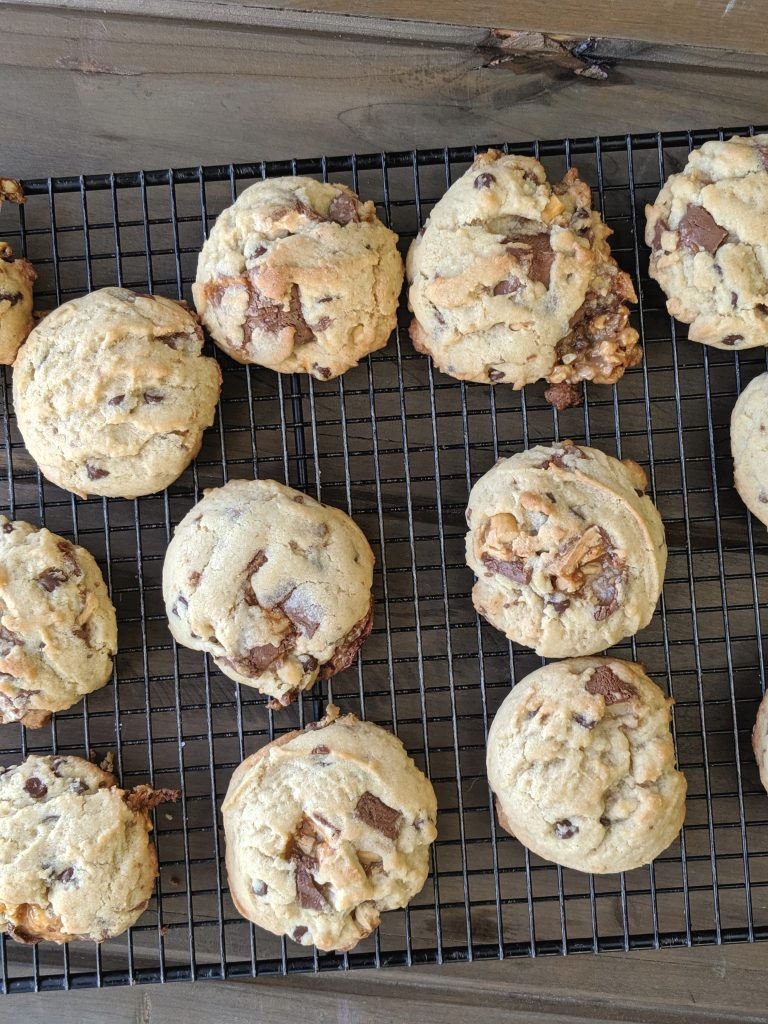 snickers cookies on a cooling rack