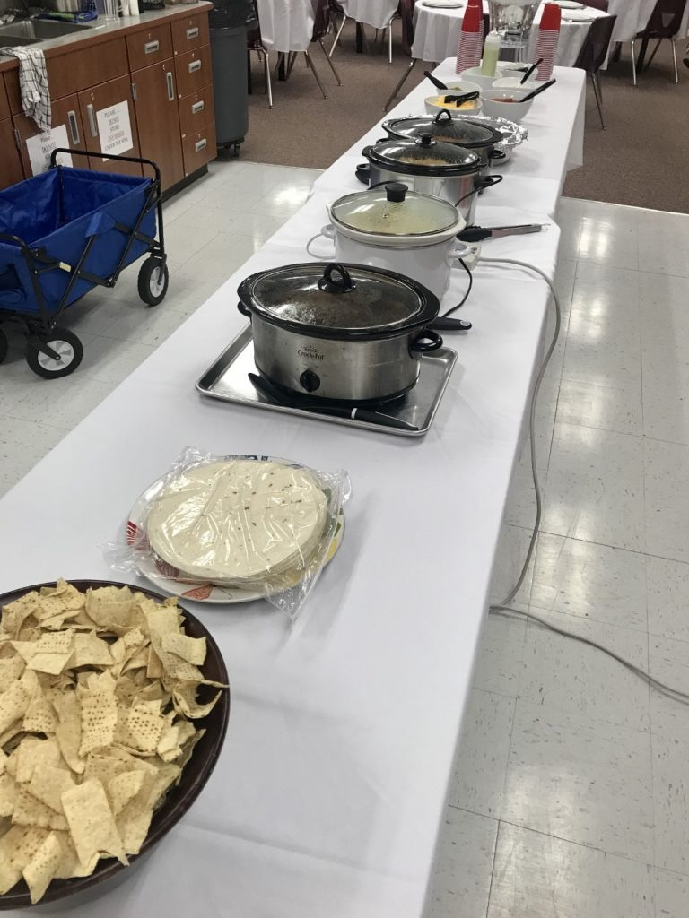 cafe rio buffet line at teacher lunch