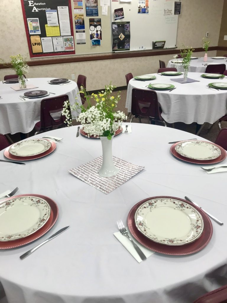 table set for the teacher appreciation lunch
