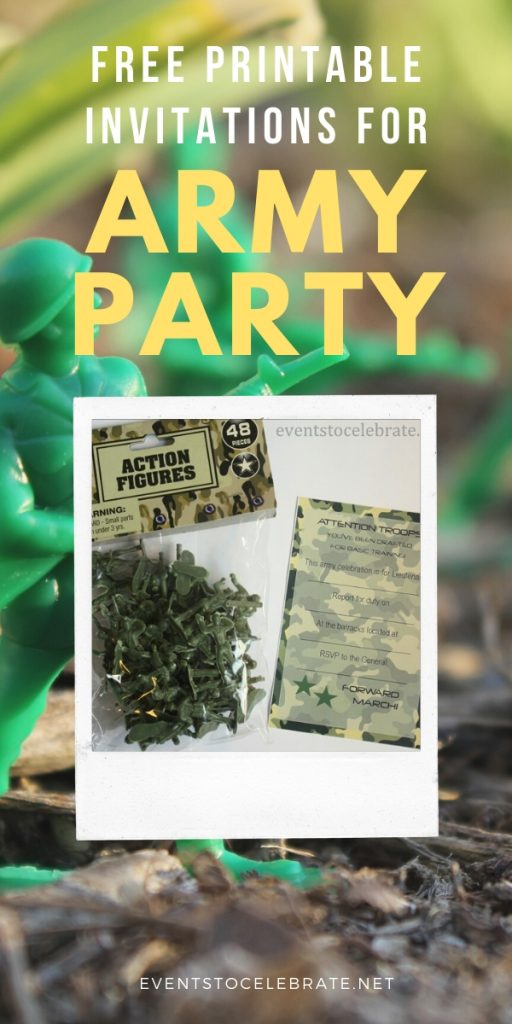 free printable invitation for an army party