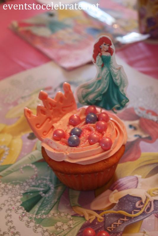 Disney princess party activity cupcake decorating