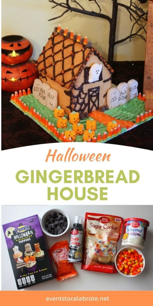 Halloween styled gingerbread house