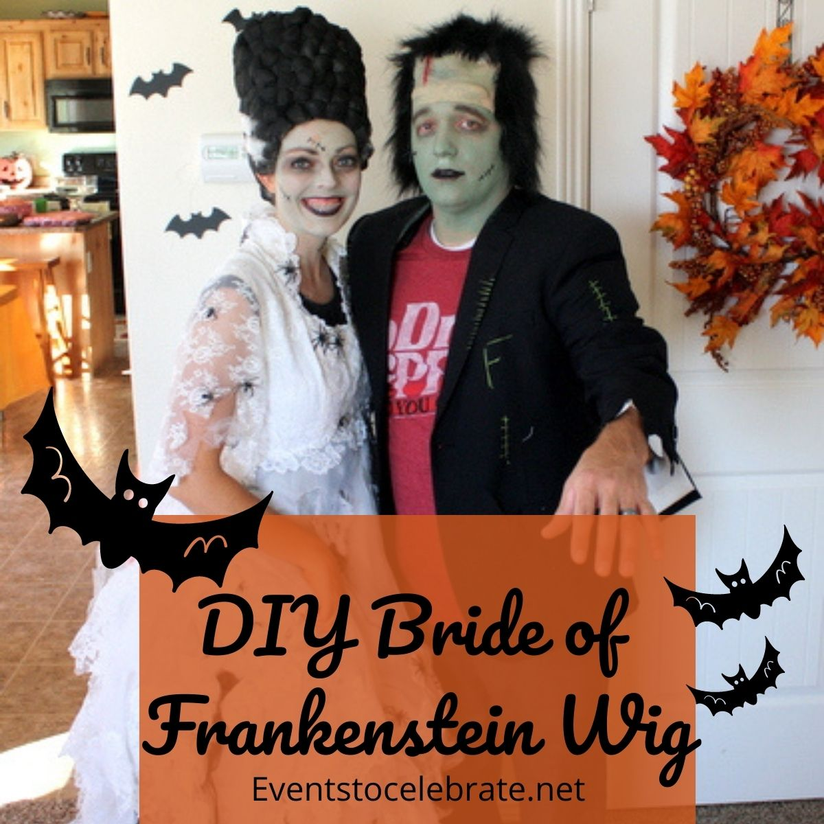 DIY frankenstein bride wig for halloween
