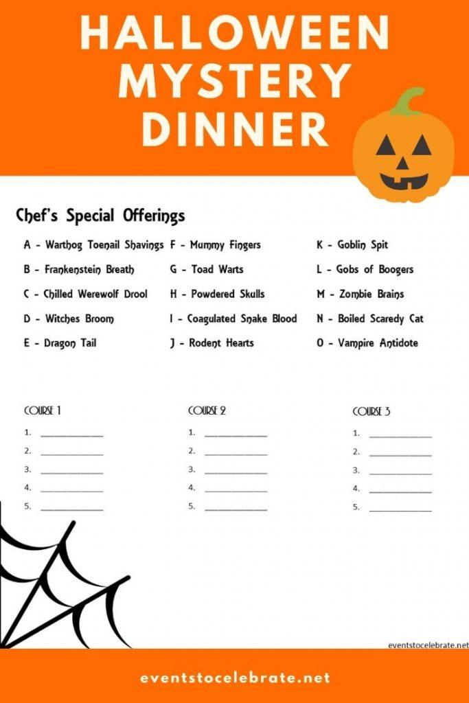 Mystery halloween themed dinner