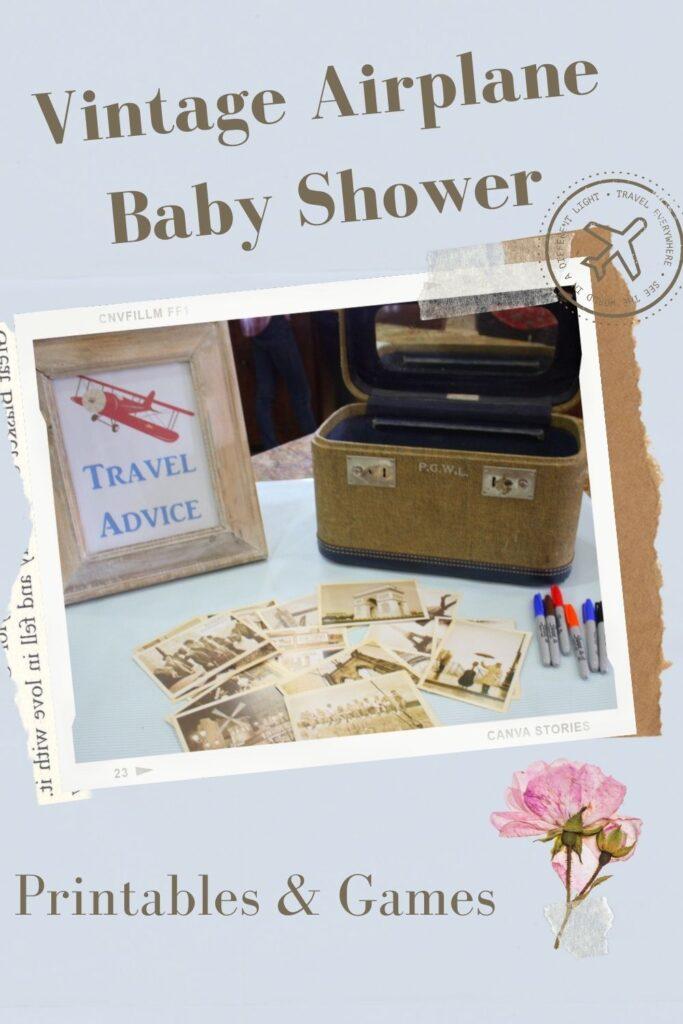 Vintage Airplane Baby Shower Printables & Games